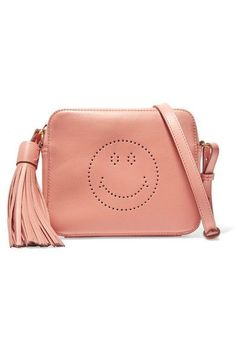 ANYA HINDMARCH Smiley perforated leather shoulder bag. #anyahindmarch #bags #shoulder bags #hand bags #leather #