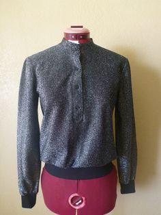 vintage metallic black top. Lame long sleeve top by june22nd