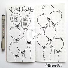 Hello serumaninhos planet earth! In bullet journal we always have freedom to explore our creativity, and today I came to show you how to customize this simple little list Birthday ... #bulletjournalcover #bulletjournal Bullet Journal Disney, Birthday Bullet Journal, Bullet Journal Hacks, Bullet Journal Spread, Bullet Journal Layout, Bullet Journals, Bullet Journal Page Anniversaire, Bullet Journal Calendrier, Planner Stickers