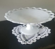 Old Colony Milk Glass Lace Edge Compote/Fruit Bowl Cranberry Glass, Chocolate Cups, Vintage Dishes, Glass Collection, Snack, Cozy House, Milk Glass, Amazing, Glass Art