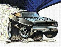 Weird Cars, Cool Cars, Caricature, Hot Rods, Cool Car Drawings, Truck Art, Garage Art, Car Illustration, Dodge Charger