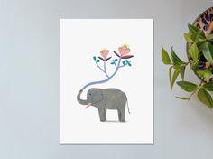 Illustration // Affiche // Impression sur papier // Eléphant
