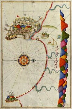Istanbul Illuminated Manuscript, Map of the fortress of Alanya (ʿAlāʾiye, Alaiye) (Turkey) from Book on Navigation by Piri Reis Old Maps, Antique Maps, Vintage Maps, Ancient Maps, Illustrations, Illustration Art, Map Globe, Illuminated Manuscript, Map Art