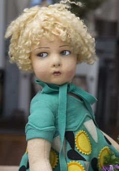 "22"" (55 cm.)  An Antique All-Original Italian Felt Character Doll Girl,109 Model,by Lenci"