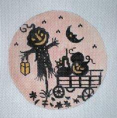 Silhouette Jack O Lantern Needlepoint canvas by colors1 on Etsy,