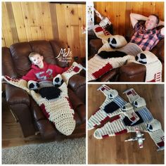 Snuggies are overrated! What you truly need in your life is one of these awesome X-Wing blankets by Off the Hook Designs, and you can make one of your own with the pattern located here. [X-Wing Bla…