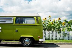 VW T2 camper with sunflowers
