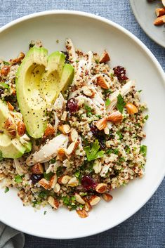 Quinoa Salad With Chicken, Almonds and Avocado Recipe - NYT Cooking Avocado Recipes, Salad Recipes, Healthy Recipes, Chicken Quinoa Salad, Cold Quinoa Salad, Wild Rice Salad, Clean Eating, Healthy Eating, Little Lunch