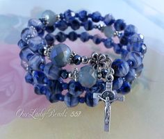 Rosary Bracelet Wrap,Blue Patterned Faceted Glass,Mother's Day,Godmother,Confirmation Gift,Bridal,Religious Jewelry,Catholic Gifts,#557 by OURLADYBeads on Etsy