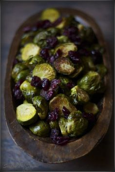 Roasted Brussel Sprouts with Cranberries and Balsamic Vinegar Reduction