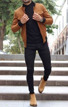Moda Masculina Inverno What a great Fall men's outfit! Brown leather jacket, brown boots and black j Stylish Mens Outfits, Casual Outfits, Men Casual, Casual Fall, Fall Outfits, Stylish Man, Casual Styles, Mode Man, Mens Fashion Wear