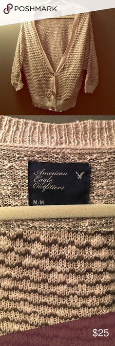 American Eagle sweater Oatmeal & grey coloring, used but in good condition. Great for summer nights. Offers accepted! American Eagle Outfitters Tops Sweatshirts & Hoodies