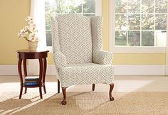 Livingroom chair recover - Photo of Stretch Ironworks Wing Chair Slipcovers Wingback Chair Slipcovers, Furniture Slipcovers, Upholstered Furniture, Sofa, Living Room Pillows, Living Room Chairs, Dining Room, Dining Chair, Living Room Update