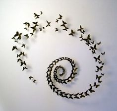 Mounting a collection of similar objects together, in this case butterflies, makes for interesting and inexpensive wall art.