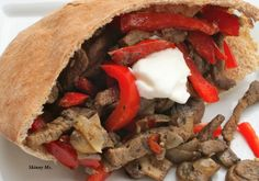 Here's a gluten free sandwich with plenty of protein.  This Steak Fajita Sandwich uses steak strips, red onions, and mushrooms.