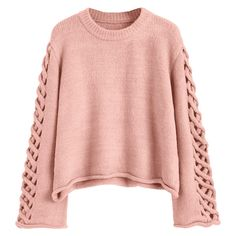 Oversized Braided Sleeve Pullover Sweater Pink (€20) ❤ liked on Polyvore featuring tops, sweaters, zaful, shirts, red sweater, oversized shirts, shirt sweater, red top and pink pullover