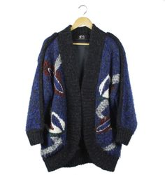Vintage navy and white swan print heavy knit by FannyAdamsVC, $40.00