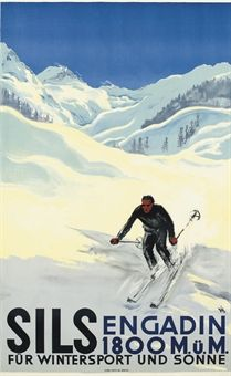 vintage ski poster. DIGGELAMNN, ALEX WALTER (1902-1987)   SILS   lithograph in colours, c.1930