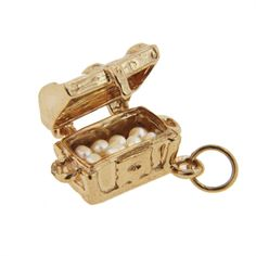 i had a charm like this when i was a kid, but it wasn't real gold--Treasure Chest Charm | Gold Treasure Charm | Gold Movable Charms