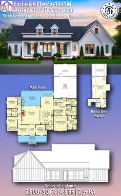 Plan Flexible Farmhouse with Outdoor Grilling Porch and Optional Bonus Room – farmhouse plans New House Plans, Dream House Plans, My Dream Home, Four Bedroom House Plans, The Plan, How To Plan, Closet Layout, Porche, Master Closet