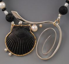 Barbara Umbel ~ scallop shell from Indian Harbour Beach set in 14kt gold and sterling silver with freshwater pearls, onyx and lava beads.