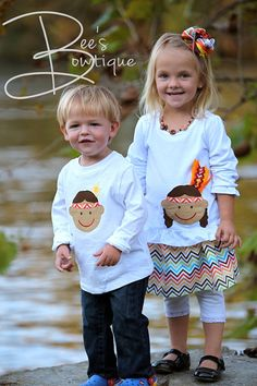 Thanksgiving Indian ribbon shirt - boys and girls Bee's Bowtique