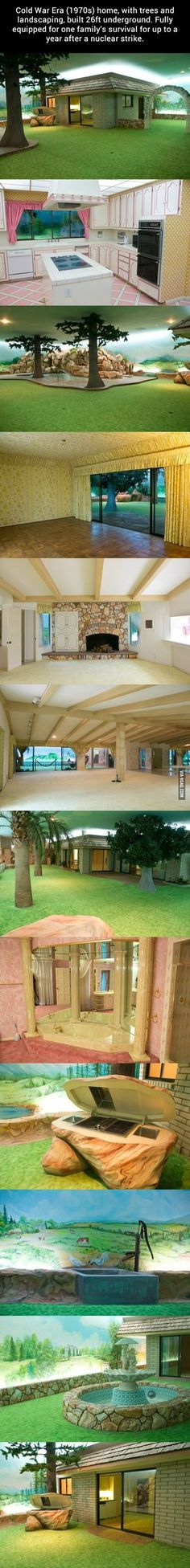 Cold War Era home, with trees and landscaping, built 26ft underground.