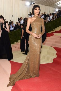 Zendaya's sparkly, golden dress by Michael Kors from the 2016 Met Gala red carpet.