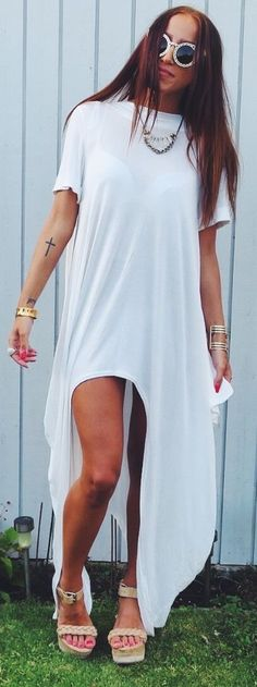 Christina Kovac White High And Low Maxi Tee Dress