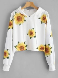Autumn and Spring Floral Elastic Full Short Hooded Hoodie Sunflower Print Graphic Hoodie - Source by - Girls Fashion Clothes, Teen Fashion Outfits, Cute Fashion, Girl Fashion, Trendy Fashion, Cute Girl Outfits, Cute Casual Outfits, Jugend Mode Outfits, Stylish Hoodies