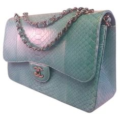 Pre-owned Light Blue Python Chanel Shoulder Bag (€9.425) ❤ liked on Polyvore featuring bags, handbags, shoulder bags, light blue, blue shoulder bag, shoulder bag purse, chanel handbags, python handbags and shoulder hand bags