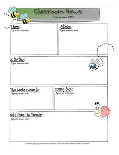 Insect themed Newsletter Template with editable text boxes! Preschool Curriculum Map, Curriculum Mapping, Preschool Lesson Plans, Preschool Classroom, Classroom Themes, Preschool Ideas, Preschool Newsletter Templates, Newsletter Ideas, Classroom Newsletter