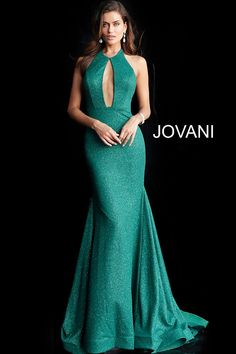 736a5e65a38 Jovani 64851 Floor length form fitting hunter stretch glitter prom gown  with long train features sleeveless backless bodice with crew neckline with  large ...
