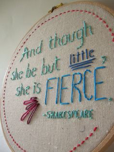 Embroidery Hoop Art Shakespeare Quote Hand Embroidered
