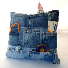 Recycled Denim Coin Pocket Treasure Pillow by EmmeliWorks on Etsy, $20.00