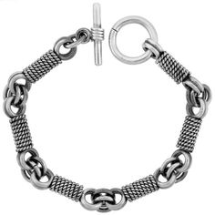 Sterling Silver Rope Wrapped Link Bracelet Toggle Clasp Handmade 3/8 inch wide, 8 inch long, Women's