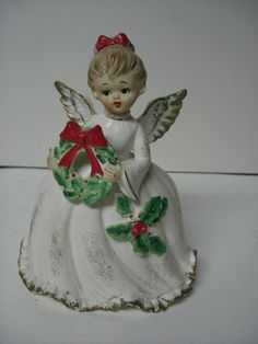 GIANT Old NAPCO Christmas Ceramic ANGEL WITH WREATH PLANTER