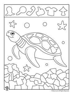 Ocean Hidden Pictures Printables to Teach Shape Recognition Animal Activities, Animal Games, Kindergarten Activities, Activities For Kids, Hidden Pictures Printables, Teaching Shapes, Turtle Party, Ocean Themes, Lynx