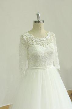 Atemberaubende Elfenbein öffnen wieder eine Linie Tüll Hochzeit Spitzenkleid mit mittleren Kalb Ärmeln