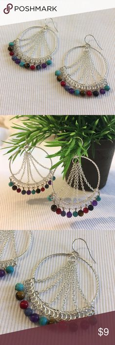 Silver Circles Earrings Chains Semi Precious Stone How funny are these?  Light weight. Worn twice. Good condition. Slightly tarnishing on metal that holds beads. Real Semi Precious Stone Beads. I don't know what they earring is made of. Boutique Jewelry Earrings