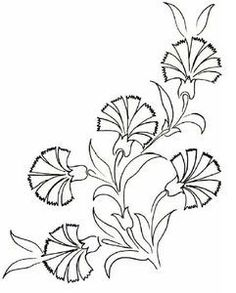 Embroidery Pattern of a Turkish Carnation, Image Only, No Source. Floral Embroidery Patterns, Hand Embroidery Stitches, Hand Embroidery Designs, Ribbon Embroidery, Embroidery Art, Machine Embroidery, Art Textile, Turkish Art, Hand Applique