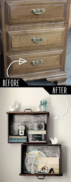 Repurpose and Upcycle your old furniture into many other new things! Like making unique shelving from a distressed chest of drawers. Follow rickysturn/diy-home-decor