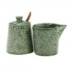 Mottled Moss Cream & Sugar Set