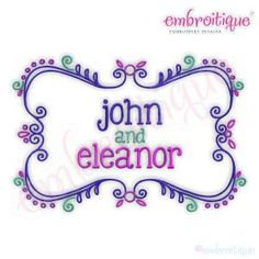 Eleanor Font Frame by Embroitique on Etsy