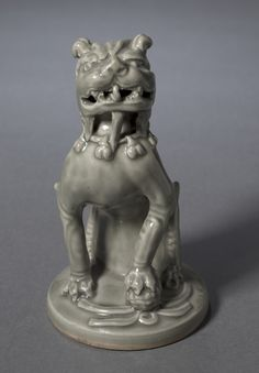 Incense Burner Top in the Shape of a Lion, 1100s China, Shaanxi province, Northern Song dynasty (960-1127) green-glazed porcelaneous stoneware, Yaozhou ware, Overall: h. 18.10 cm (7 1/8 inches)