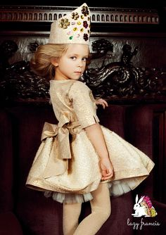 Golden flower jacquard dress - perfect for celebrations! Available at - http://www.lazyfrancis.com/clothes/precious-flower-gold-girls-jacquard-queen-dress.html #kidsfashion #luxurykids #Christmas