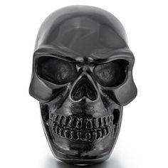 Aooaz Stainless Steel Ring For Men Black Skull Head Punk Vintage Retro Biker Mens Band Halloween Size 13 Steampunk Rings, Mens Stainless Steel Rings, Steampunk Accessories, Skull Head, Black Skulls, Printed Bags, Black Rings, Retro Vintage, Biker