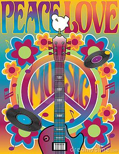 An illustration of a guitar, peace symbol and dove dedicated to the Woodstock Music and Art Fair of 1969.   by Lisa Fischer