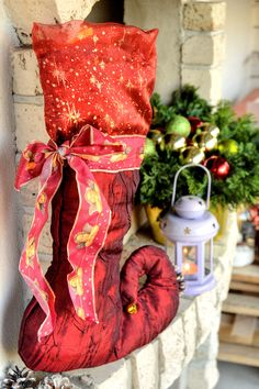 Large Christmas Stocking X mas decoration Large Christmas Stockings, Jingle Bells, All Pictures, Handmade Christmas, Ribbons, Color Combinations, Christmas Time, Cloths, Homes
