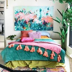 Eucalyptus thrown back with the new Sicilian Olive linen and splashes of pink . that's how you do it Jumbled Love this combo Tap to shop the look now Decor, Home Decor Bedroom, House Colors, Hippie Home Decor, Home Decor, Home N Decor, Eclectic Home, Room Inspiration, Home Decor Inspiration